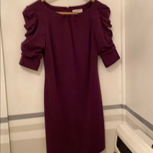 Egg plant fitted Dress ruched sleeves 3/4 length